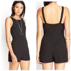 Forever 21 Black Romper with Lace Side Detail